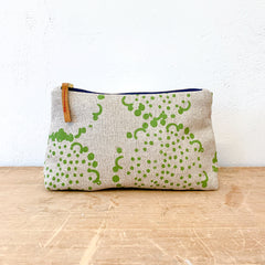 EVERGREEN DANDELION OATMEAL LINEN MAKE UP ZIPPER BAG
