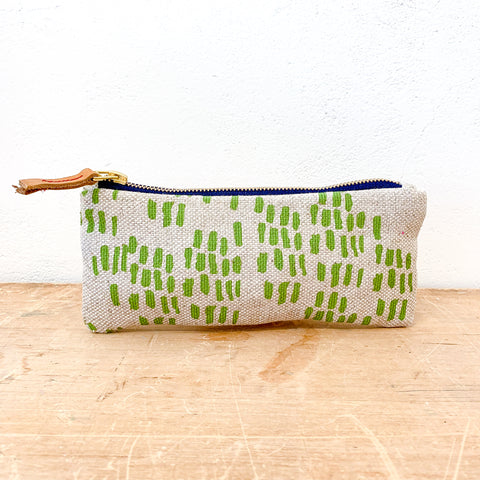 EVERGREEN RAIN OATMEAL LINEN FLAT PENCIL ZIPPER BAG