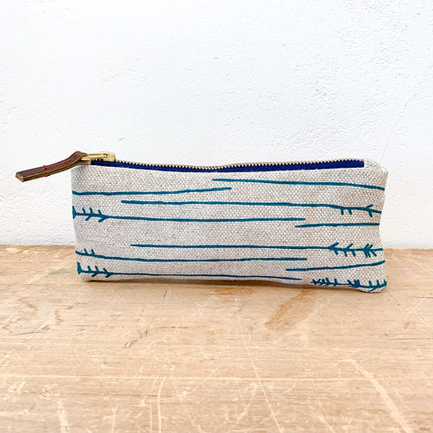 EMERALD TWIG OATMEAL LINEN FLAT PENCIL ZIPPER BAG
