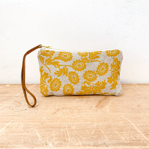 GOLD WALLFLOWER OATMEAL HEAVY LINEN WRISTLET ZIPPER BAG