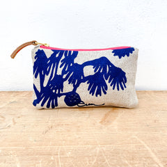 NAVY DEEP WOODS OATMEAL HEAVY LINEN CARD WALLET ZIPPER BAG