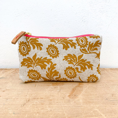 SIENNA WALLFLOWER HEAVY OATMEAL LINEN CARD WALLET ZIPPER BAG