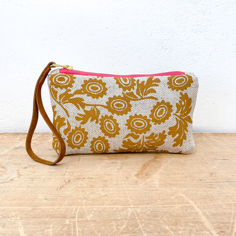 SIENNA WALLFLOWER OATMEAL HEAVY LINEN WRISTLET ZIPPER BAG