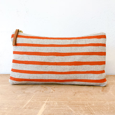 TOMATO 6 LINES OATMEAL LINEN CLUTCH ZIPPER BAG