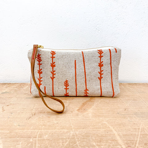 TOMATO TWIGS OATMEAL HEAVY LINEN WRISTLET ZIPPER BAG