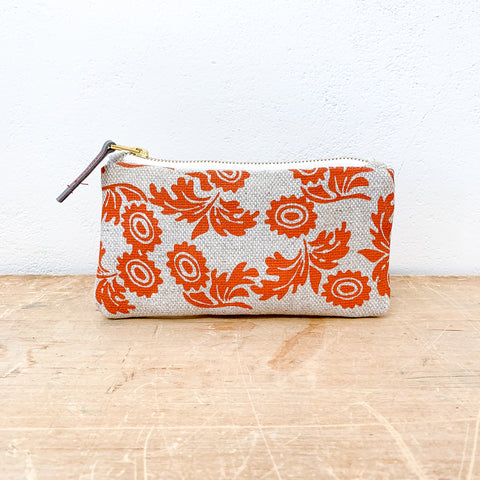 TOMATO WALLFLOWER OATMEAL LINEN CARD WALLET ZIPPER BAG