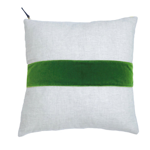 EVERGREEN VELVET BAND LINEN PILLOW