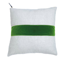 EVERGREEN VELVET BAND LINEN PILLOW COVER