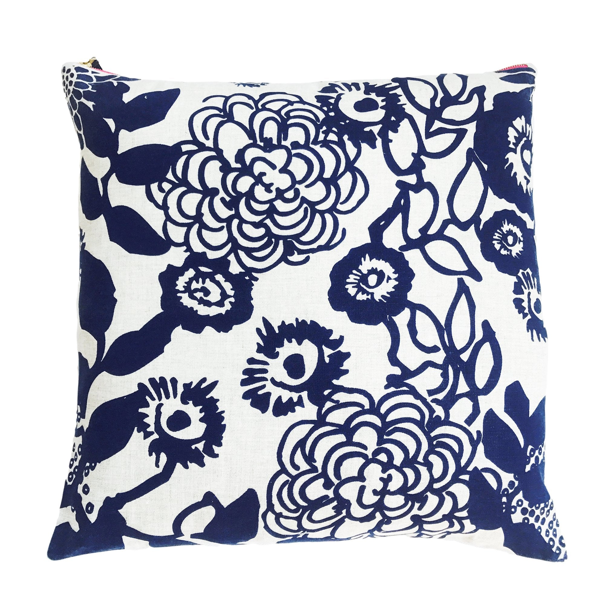 NAVY FLORAL GARDEN LINEN PILLOW