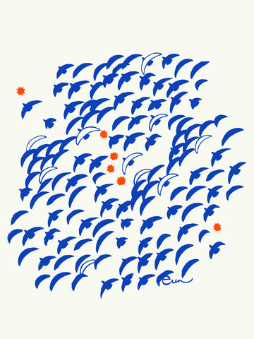 ROYAL BLUE FLIGHT GICLEE PAPER ART PRINT