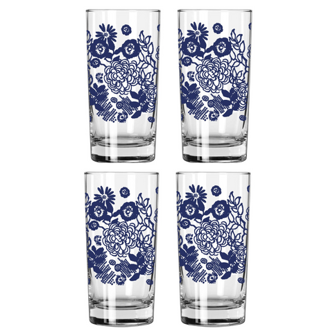NAVY FLORAL DRINKING GLASS SET