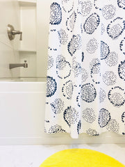 NAVY DANDELION SHOWER CURTAIN