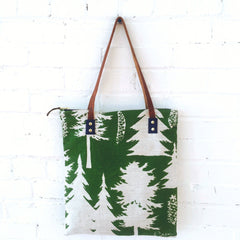 EVERGREEN ASHLEY PINE LINEN MOD TOTE BAG