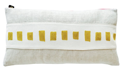 GOLDEN ROD SQUARES EMBROIDERY BAND LINEN PILLOW COVER