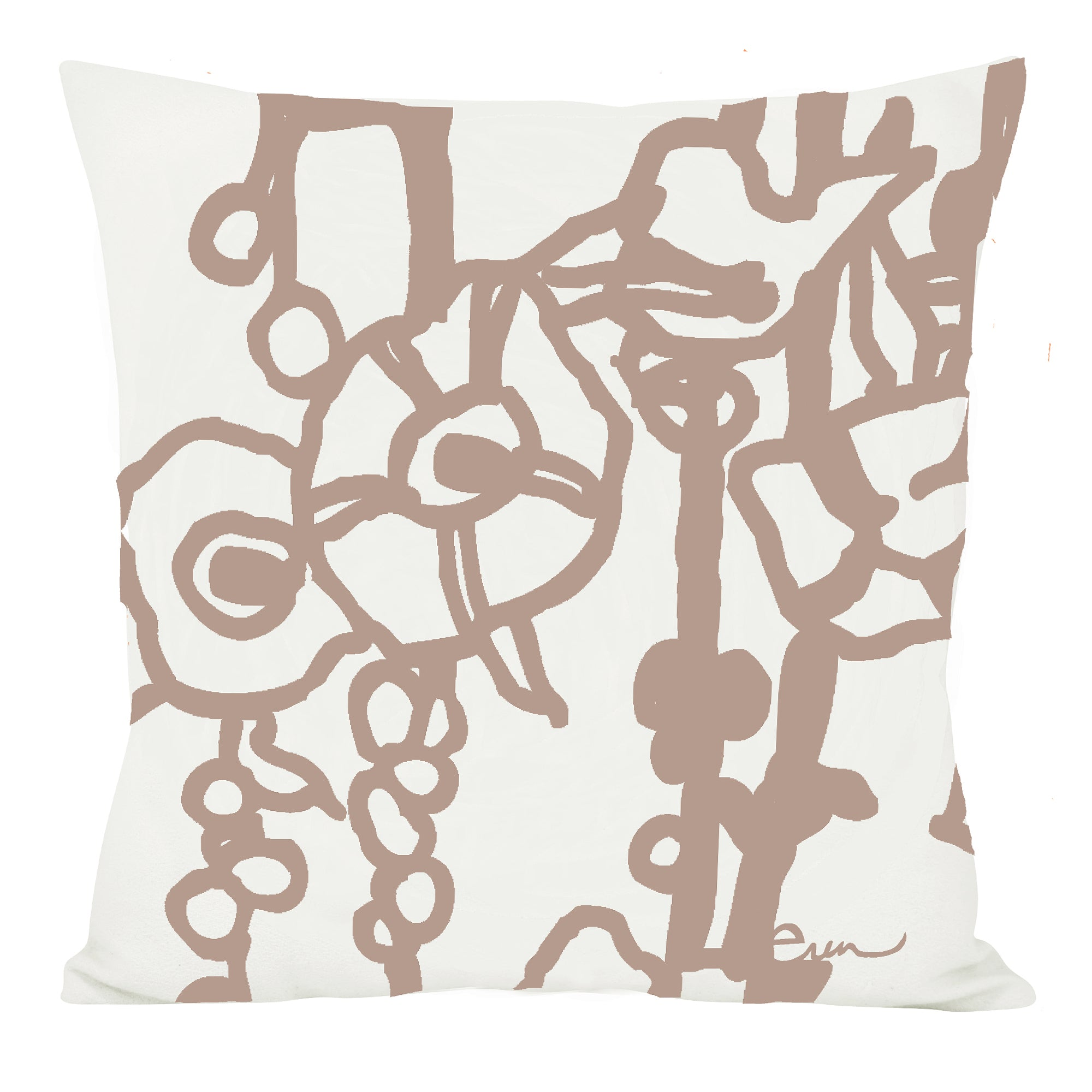 GEORGE LINEN PILLOW COVER IN TAUPE BROWN