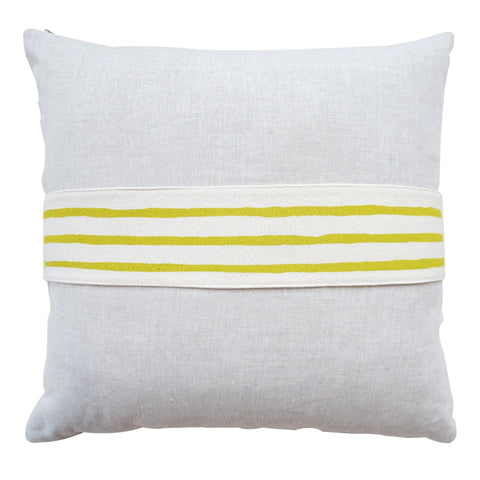 3 LINE GOLDEN ROD BAND LINEN PILLOW COVER
