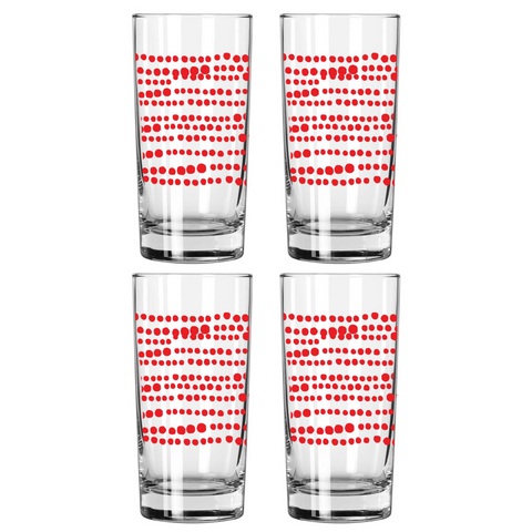 RED HILARY DRINKING GLASS SET