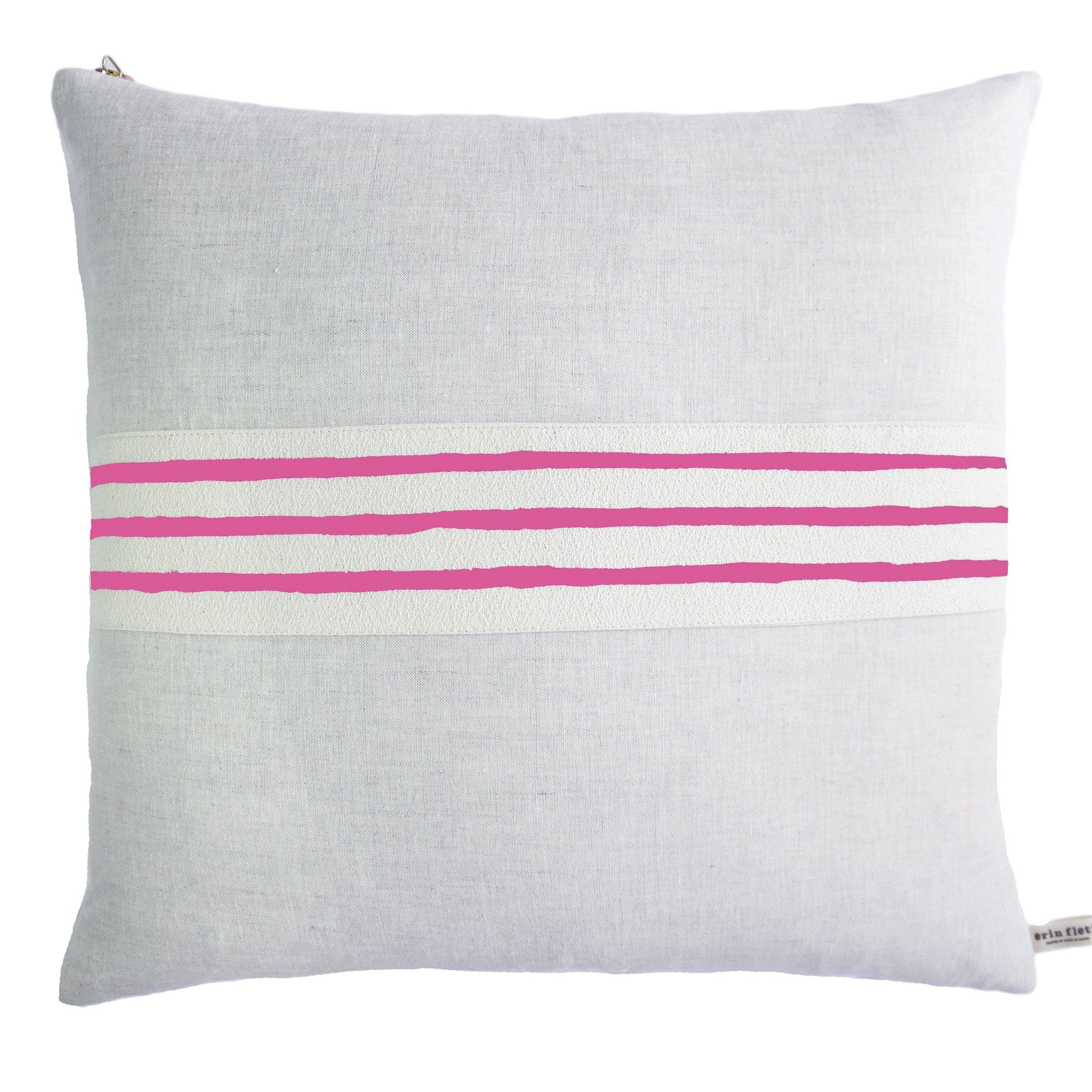 3 LINE HOT PINK BAND LINEN PILLOW COVER