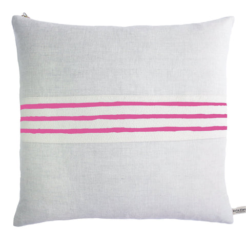 HOT PINK 3 LINE BAND LINEN PILLOW