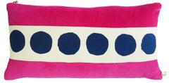BERRY VELVET PILLOW WITH NAVY DOT BAND