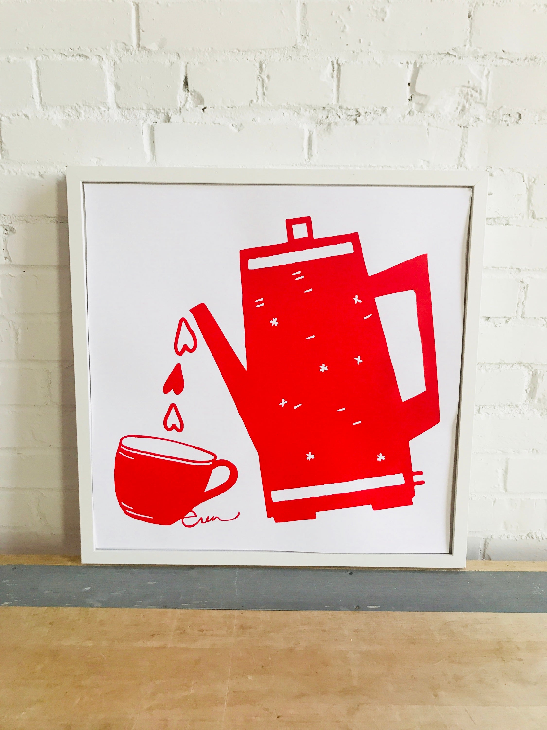 SHIPS NOW! RED COFFEE LOVE PAPER PRINT
