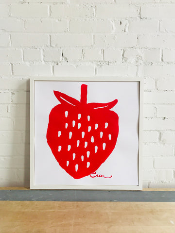 SHIPS NOW! RED STRAWBERRY PAPER PRINT