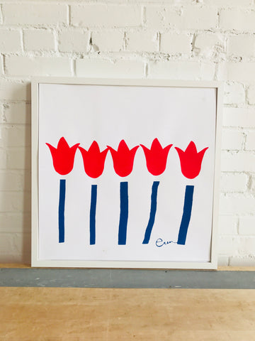 SHIPS NOW! RED + NAVY TULIP PAPER PRINT