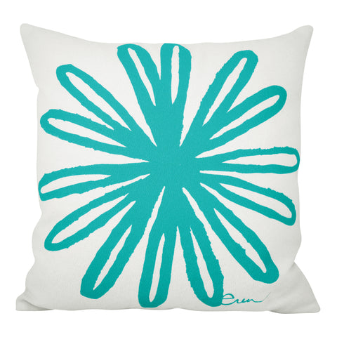 BLOOM PILLOW COVER IN TURQUOISE