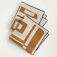 SIENNA BOLD GEO LINEN NAPKINS. SET OF 2.
