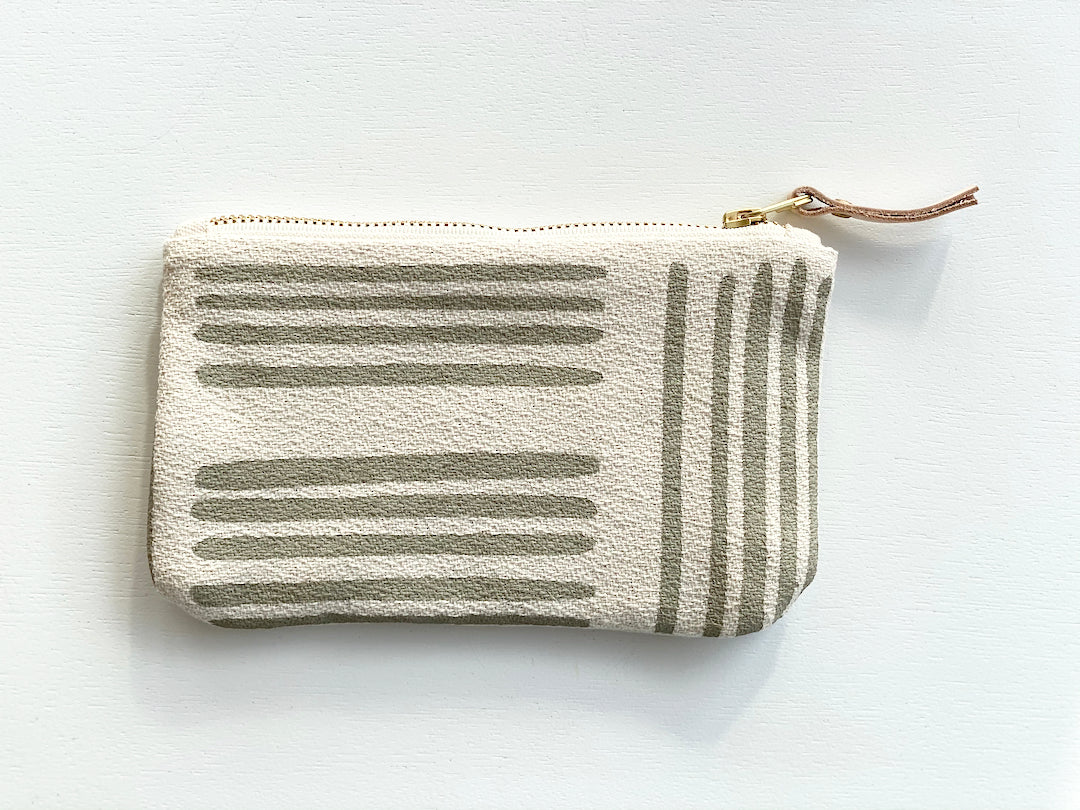 SHIPS NOW! OATMEAL BRUSH CARD WALLET ZIPPER BAG