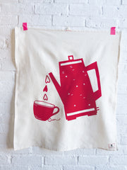 RED COFFEE LOVE TEA TOWEL