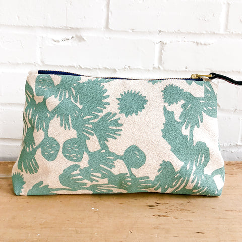 ROBINS EGG BLUE DEEP WOODS MAKEUP ZIPPER BAG