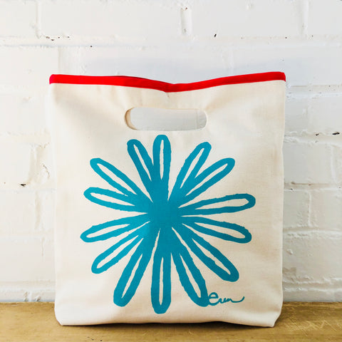 SEA BLUE BLOOM LUNCH BAG