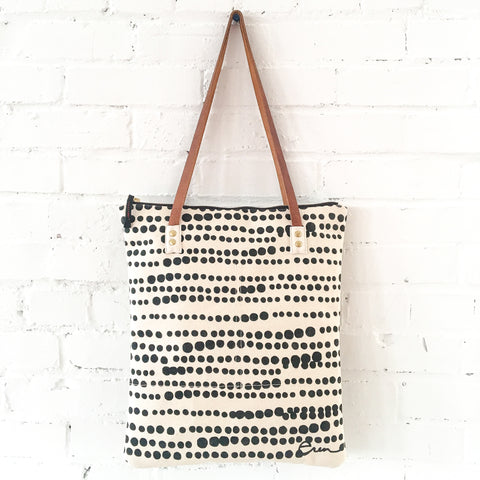 WORN BLACK HILARY HEAVY CANVAS MOD TOTE