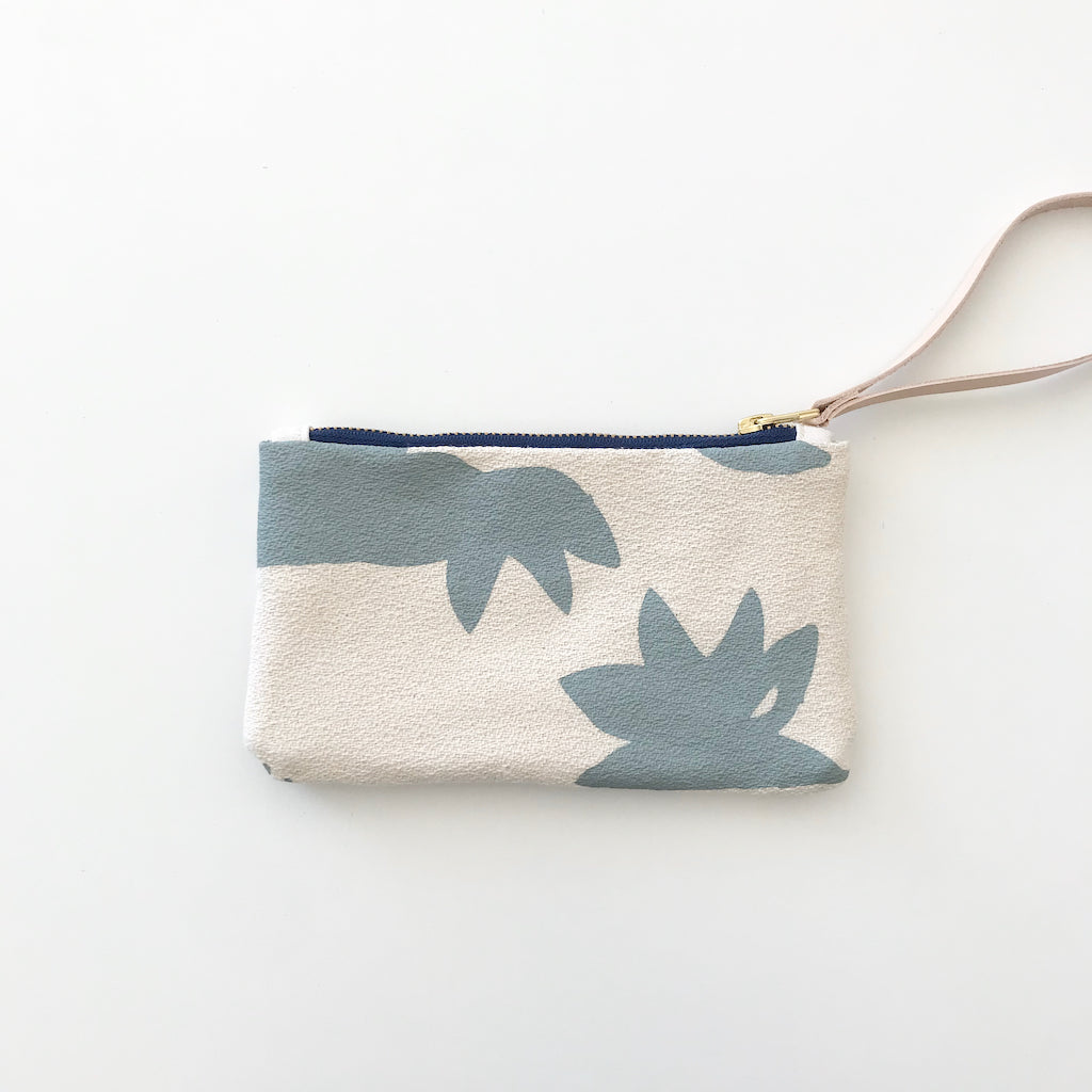 SHIPS NOW! SLATE LOTUS WRISTLET ZIPPER BAG