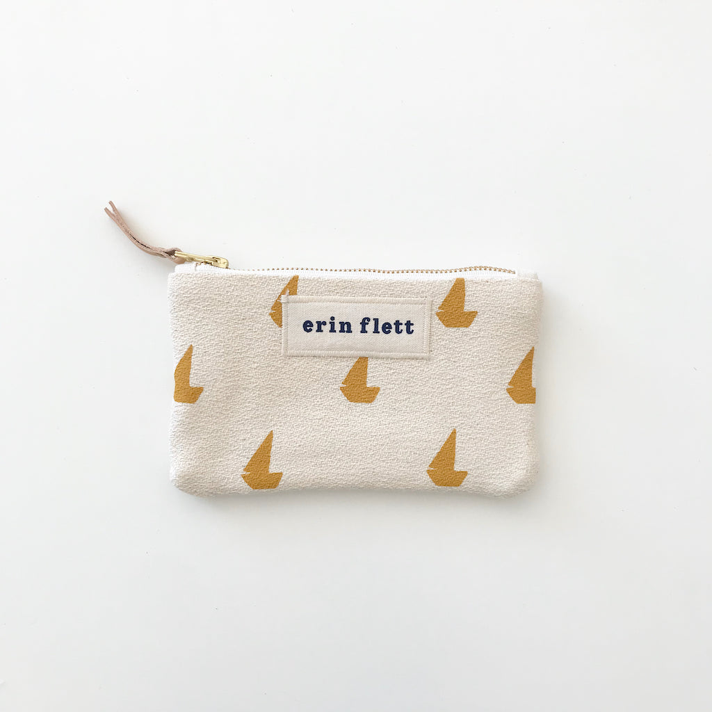 SHIPS NOW! YOLK SAILBOATS CARD WALLET ZIPPER BAG