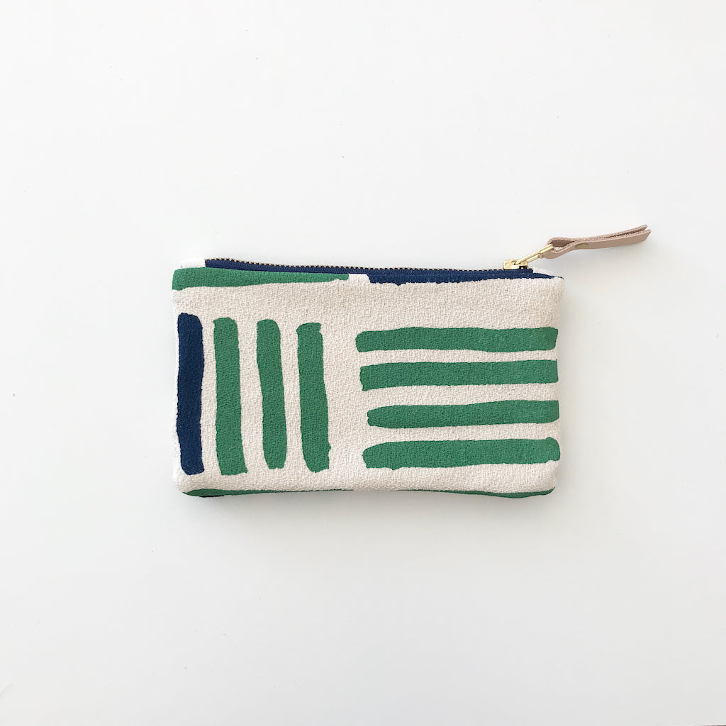 SHIPS NOW! KALE GRID CARD WALLET ZIPPER BAG