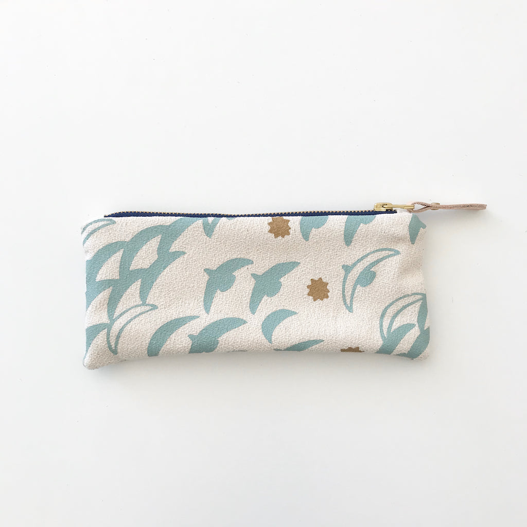 SHIPS NOW! ROBINS EGG FLIGHT PENCIL ZIPPER BAG
