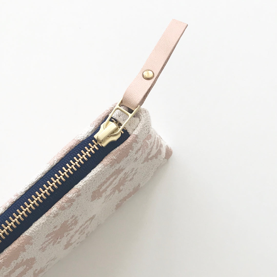 SHIPS NOW! DUSTY PINK FIREWORKS PENCIL ZIPPER BAG