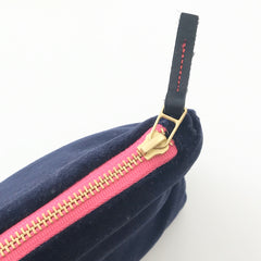 SHIPS NOW! NAVY VELVET MAKEUP ZIPPER BAG