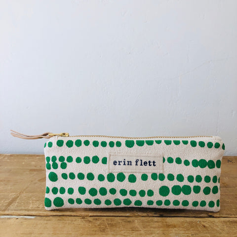 SEA FOAM HILARY FLAT PENCIL ZIPPER BAG
