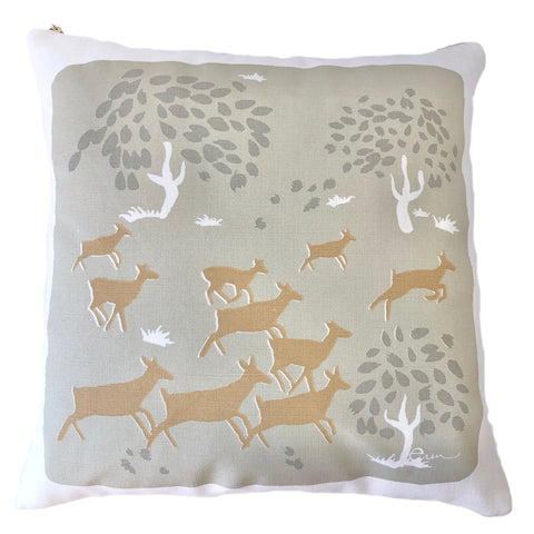 OATMEAL RUNNING DEER PILLOW