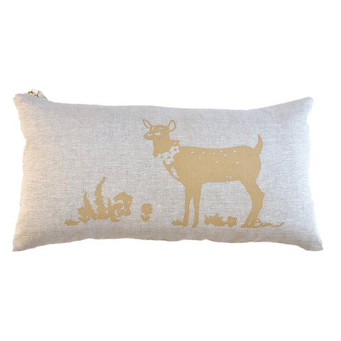 SAND DEER OATMEAL LINEN LUMBAR PILLOW