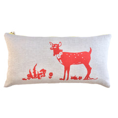 CREW DEER OATMEAL LINEN LUMBAR PILLOW