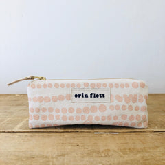 DUSTY PINK HILARY FLAT PENCIL ZIPPER BAG