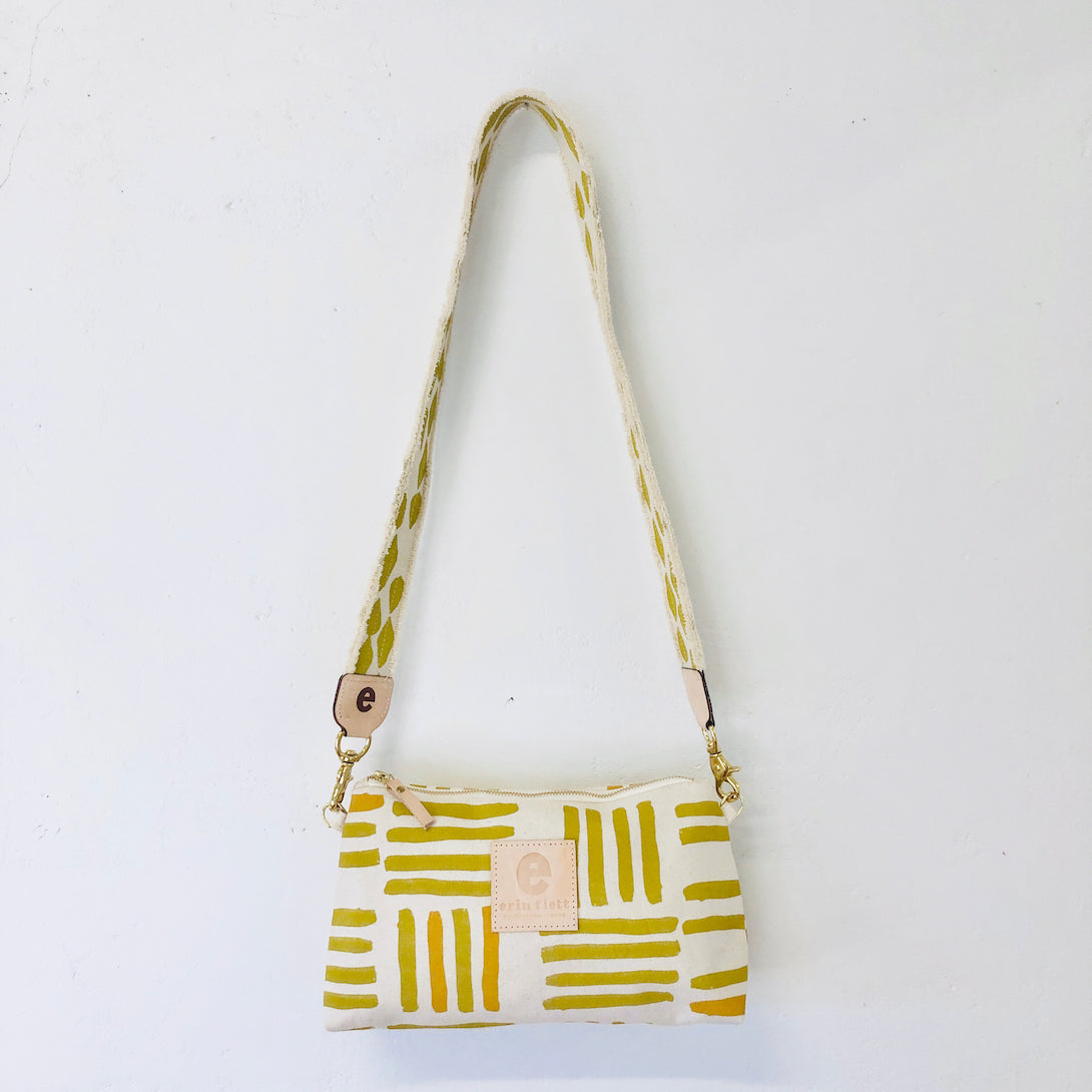 OCHRE GRID JEN CROSSBODY BAG WITH SKINNY STRAP
