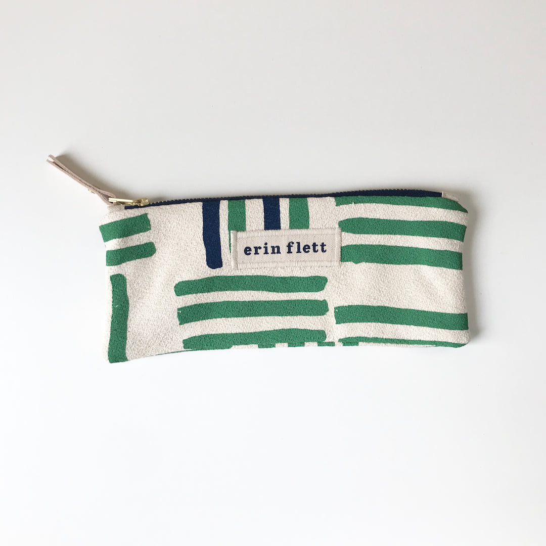 SHIPS NOW! KALE GRID PENCIL ZIPPER BAG