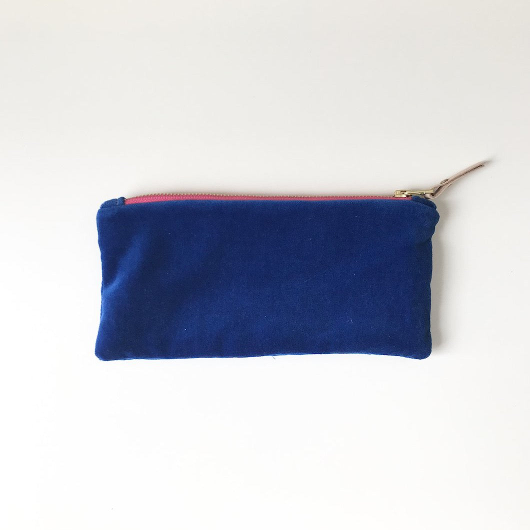 SHIPS NOW! ROYAL VELVET PENCIL ZIPPER BAG