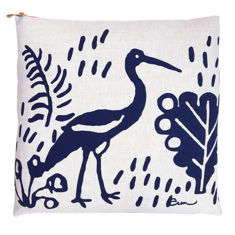 CRANE NAVY LINEN PILLOW COVER