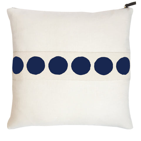 CIRCLE BAND OYSTER LINEN PILLOW COVER IN NAVY